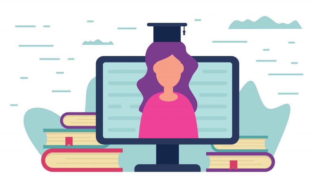 Tegning af computer med kvinde med studenterhue på skærmen.