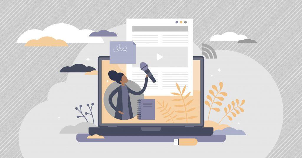 Tegning af bærbar computer - på skærmen er en kvinde med en mikrofon