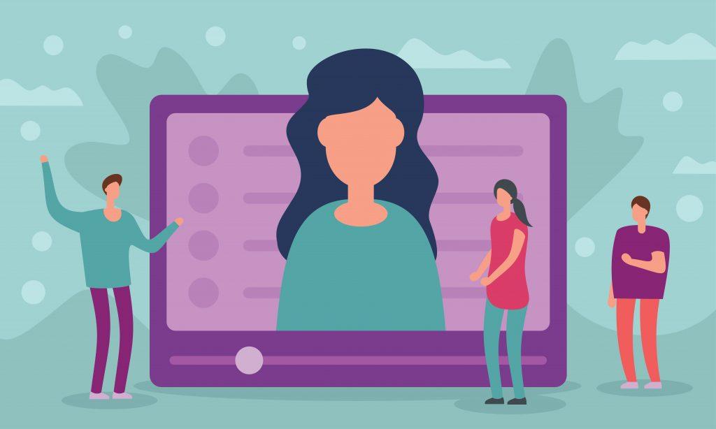 Tegning af en PC skærm med en person i midten af skærmen