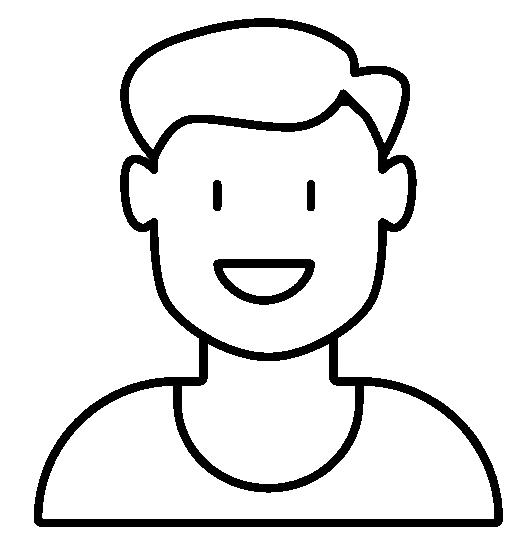 Tegning af et profilbillede - en ung mand.