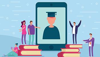 Tegning af student på mobilen og tre der kigger på mobilen