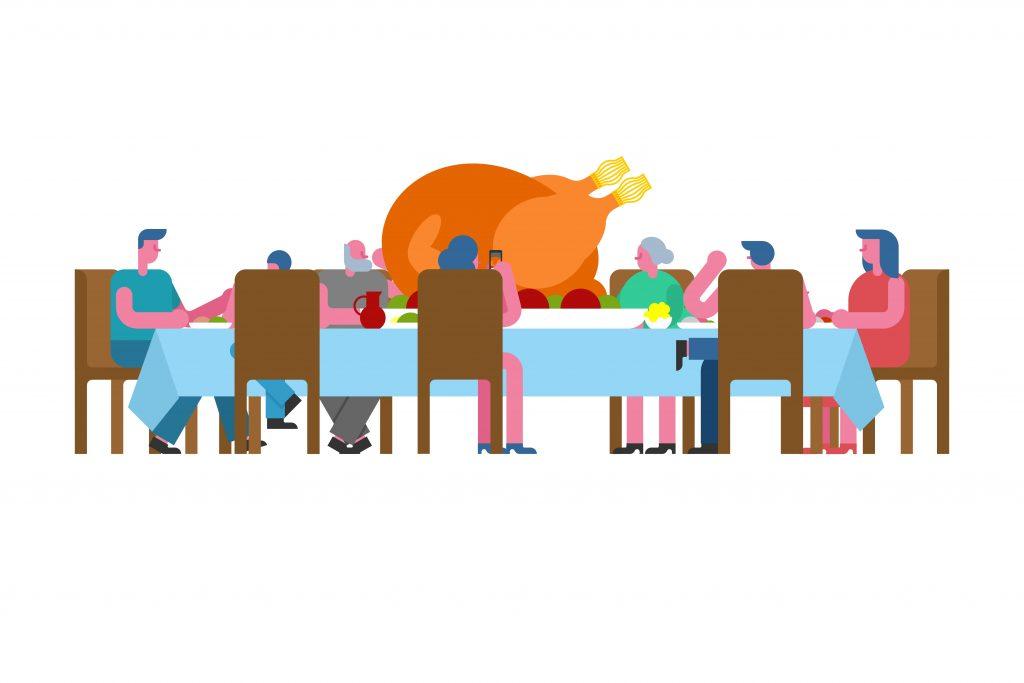 Tegning: Et langbord med mennesker, der er til middag - der er en stor kalkunsteg på bordet
